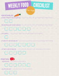 Daily Weekly Food Checklist Free Printable Miss Homebody