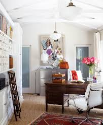 elegant home office. Decoration: Bright White Paited Wall And Ceiling Inside Elegant Home Office With Wooden Desk Q