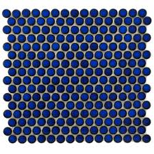 Merola Tile Hudson Penny Round Blue Eye 12 in. x 12-5/8