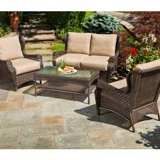 intriguing wicker woodard patio furniture with beige cushions