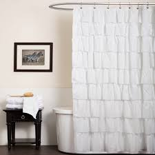 one allium way marouane ruffle shower curtain in white for bathroom decoration ideas