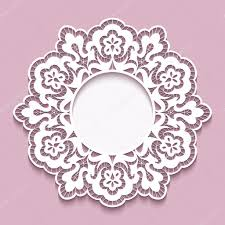 lace doily round cutout paper frame template stock vector