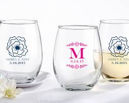personalized 9 oz stemless printed wine glass botanical
