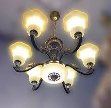 6 yellow colour glass lamp antique black design chandelier