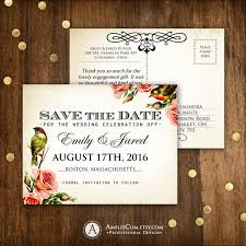 Save The Date Postcards Templates Printable Save The Date Card Vintage Roses Birds Weddings Save The