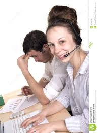 w and man working in customer service department stock photo w and man working in customer service department