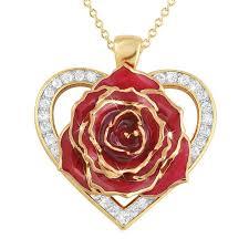 true love genuine rose heart pendant