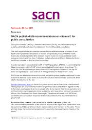 SACN publish draft recommendations on vitamin D for public consultation