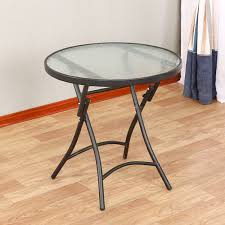 emperor folding table portable table glass dining table round table negotiation table small sized dining table 60cm white