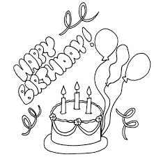Easy Happy Birthday Coloring Pages - Womanmate.com