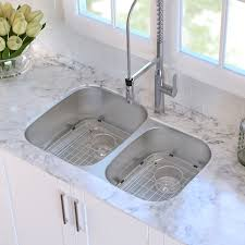 32 x 21 double basin undermount kitchen sink with drain assembly