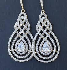 gold crystal pave swirl bridal chandelier earrings vintage art deco bridal jewelry wedding jewelry lilian