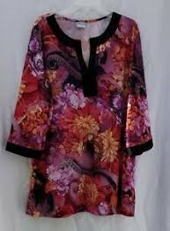 Details About 1x Women Haband Colorful Floral 3 4 Sleeve Pullover Top Tunic
