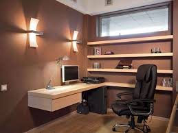 office space decor. Decorations : Deluxe Home Office Space Decor With L Shape Brown Textured Wood Computer Desk And Wall Shelves Also Lamp Added Comfortable