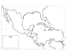 Mexico Central America The Caribbean Outline Map By Heather