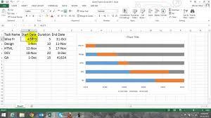 Youtube Gantt Chart Excel 2013 Gantt Chart In Excel 2013 Hindi Youtube