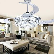 acrylic crystal chandelier type ceiling fan light kit led dining room living modern wall remote control