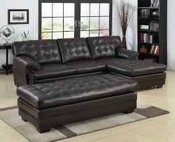 black tufted leather sectional sofa with chaise and bench seat plus wooden legs for rustic modern living room spaces with vinyl floor tiles ideas