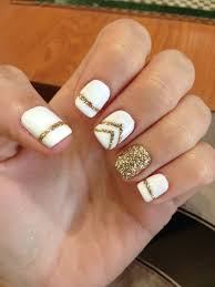 Gel Nails Designs Ideas gold and white gel manicure love this design