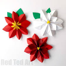 Paper Art Flower Easy Paper Flowers Poinsettia Red Ted Arts Blog