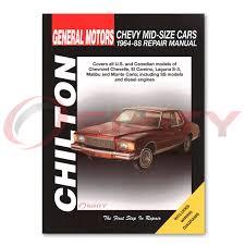 Chevy Monte Carlo Chilton Repair Manual CL Base S Landau LS Sport ...