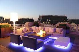outdoor lighting ideas. Unique Icy Blue LED Outdoor Lighting Ideas For Contemporary Patio Design With White Sectional Sofa Set