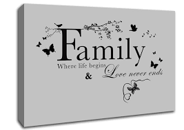 Canvas Quotes Adorable Family Where Life Begins Grey Text Quotes Canvas Stretched Canvas