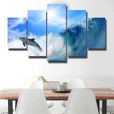 new 5 pieces sets canvas art canvas paintings beautiful dolphin hd decorations for home wall art prints canvas unframed a512 in painting calligraphy from  on dolphin canvas wall art with new 5 pieces sets canvas art canvas paintings beautiful dolphin hd