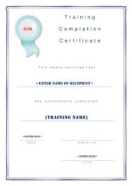Certificate Of Training Completion Template Training Completion Certificate Template In Word And Pdf Formats