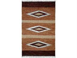 st croix matador diamonds leather chindi rectangular brown area rug