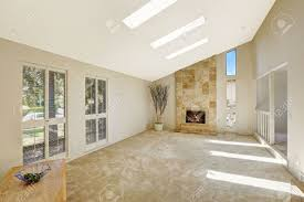Vaulted Ceiling Living Room Floor Plan In Empty House Beautiful Living Room With Fireplace