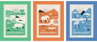 South Africa Graphic Design African Postcards On Behance South Africa Art Africa Art