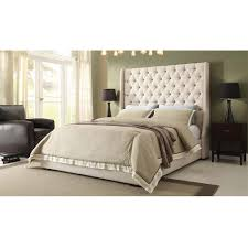 Diamond Sofa Park Avenue Queen Bed w/ Tall Diamond Tufted Headboard in  Desert Sand Linen