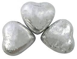 valentine silver foil chocolate hearts 1kg
