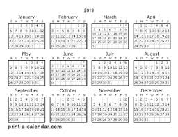 one page calender 2019 one page calendar