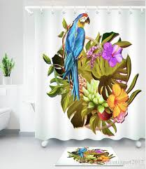 2019 lovely parrot bird pink shower curtain mat set flamingo for the bathtubs ecological room bathtubs curtains waterproof bulkheads from paintingart2017