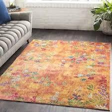 bungalow rose vibrant fl yellow orange area rug annabel