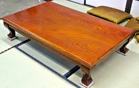 japanese floor table a is a low wooden table frame covered by a futon or heavy blanket upon which a table top sits underneath is a heat source often built