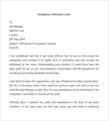 format for resignation withdrawal letter