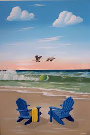 Flip Flop Chair Beach Painting Beach Chair Art Print Beach Decor Beach Art