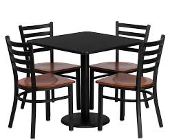 btod 30 square top dining height breakroom table w 4 ladder back metal chairs