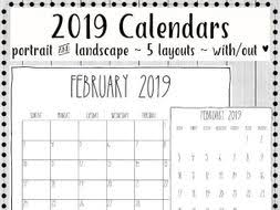 Calendar Year 2019 Printable 2019 Printable Calendars Minimalist Design By Gottaluvitcreations