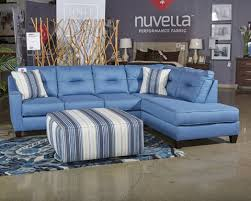 blue sleeper sectional. Brilliant Sleeper Kirwin Nuvella  Blue LAF Queen Sofa Sleeper With Sectional N