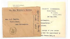 Ll194 1926 Gb Northants Charity Commision Ravensthorpe Ohms Cover