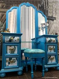 peacock blue furniture. Painted Peacock Vanity, Decoupage Furniture, Drawers, Fabric Blue Furniture