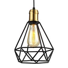 black metal pendant light. Wrought Iron Chandeliers Pendant Lamps IKEA Living Room Lampada Industrial Classic Home Metal Cage LED Lighting Art Decor Abajur-in Lights From Black Light