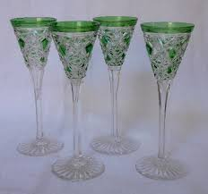 service of 4 baccarat crystal liquor glasses model lagny green overlay france early