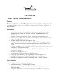 Resume Veterinary Receptionist Resume