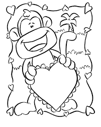 Cute Baby Monkey Coloring Pages Page Animals On Valentines Valentine