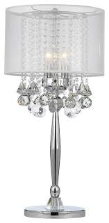 Silver Mist 3-Light Chrome Crystal Table Lamp With White Shade ...